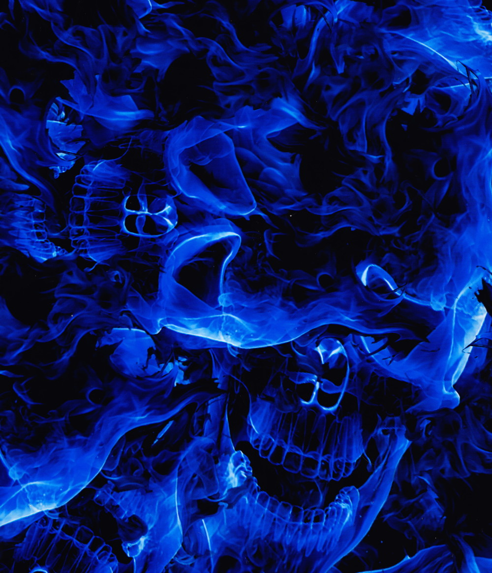 blue flames skull flame - photo #3